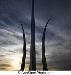 Air Force Memorial. - Three spires of Air Force Memorial in...