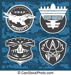 Air Force military emblem set vector design template