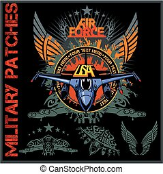 Air force patch set - stock vector. - Air force patch set -...