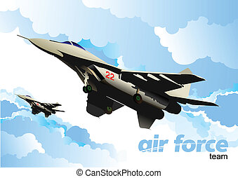 Air force team. Vector illustratio