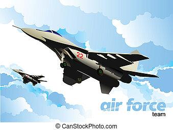 Air force team. Vector illustratio