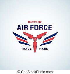 Air Force Vector Retro Label, Sign or Logo Template. Aeroplane Airscrew with Wings in Red and Blue Colours.