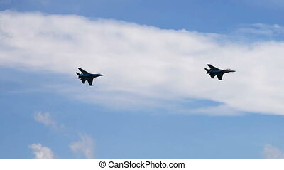 Air forces in the sky - Fighter planes flying in blue sky...