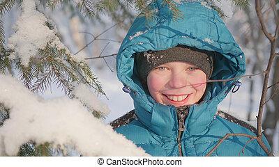 air., frais, style de vie, hiver, adolescent, sain, park., promenades