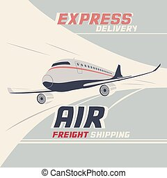 Air freight international shipping. Flying airplane vintage...