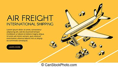 Air freight logistics vector isometric illustration