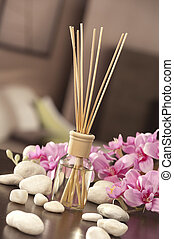 air freshener sticks at home with flowers