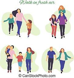 air., gens, promenade, frais, actif, illustration, jeune, family., parc, vecteur, sain, plat, illustration., stylisé, lifestyle.