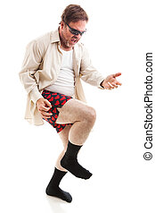 Air Guitar at 50 - Fifty year old man in his underwear and ...