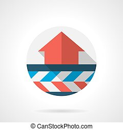 Air heating system round flat design vector icon