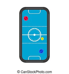 Air hockey table top view competition equipment recreation game. Flat icon vector isolated white