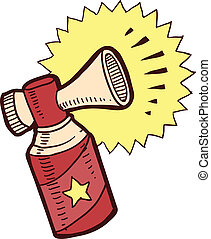 Air horn sketch - Doodle style air horn illustration in...