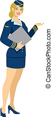 Air hostess isolated on white. No transparency and gradients used.