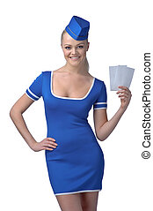 Air hostess holding two tickets to the flight isolated on...