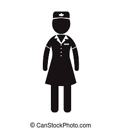 Air Hostess Stewardess icon Illustration design