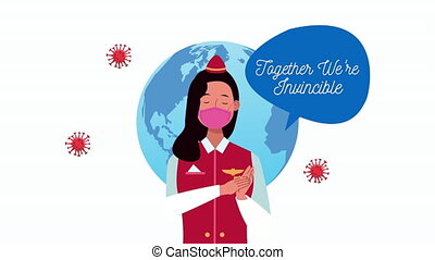air hostess with together we are invincible message campaign...