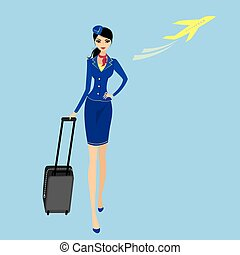 Air hostess. Woman in official clothes. Cute cheerful female...