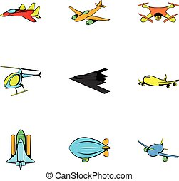 Air icons set, cartoon style