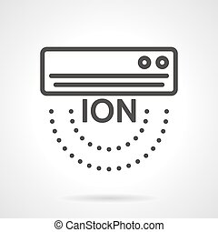 Air ionizer black line vector icon - Flat black line design...