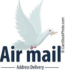 air, livraison, vecteur, courrier, poste, colombe, oiseau, icône