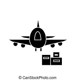 air logistics, fast delivery  icon, vector illustration, sign on isolated background