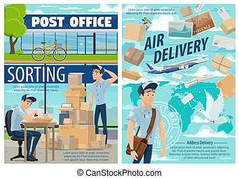 Air mail delivery, postman at post office