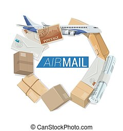 Air mail delivery service, shipping parcels