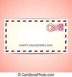 Air mail envelope for Valentine's day. Vector illustration