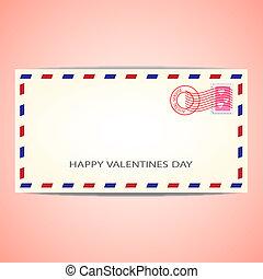 Air mail envelope for Valentine's day. Vector illustration