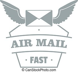 Air mail logo, simple gray style