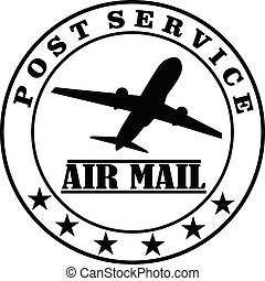 Air mail post service stamp