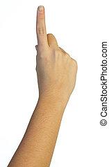 air, main, doigt, une