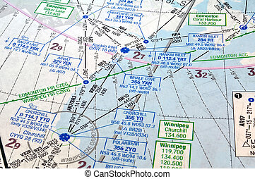 Air navigation chart - Air navigation map: airways,...