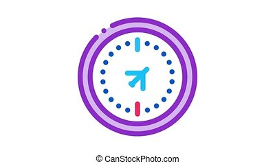 air navigation compass Icon Animation. color air navigation compass animated icon on white background