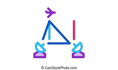air navigation course Icon Animation. color air navigation course animated icon on white background