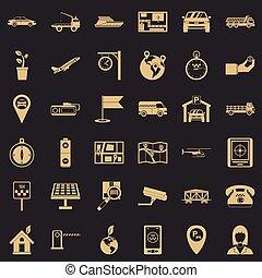 Air navigation icons set, simple style - Air navigation...