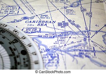 Air navigation: map of the Caribbean Sea - Air navigation...