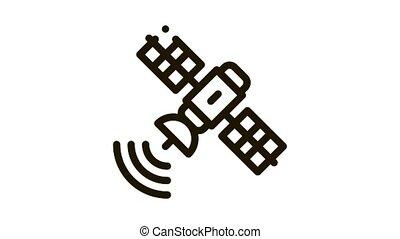 air navigation satellite Icon Animation. black air navigation satellite animated icon on white background
