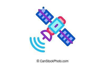air navigation satellite Icon Animation. color air navigation satellite animated icon on white background