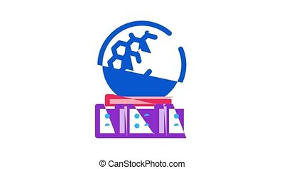 Air Navigation Tool Icon Animation Air Navigation Dispatcher And Traffic Control Building, Satellite And Radar