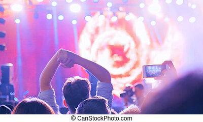 air, nuit, ouvert, concert, silhouette, partying, étape, ados, devant