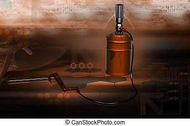 Air operated grease pump - Digital illustration of air...