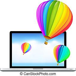 air, ordinateur portable, ballons