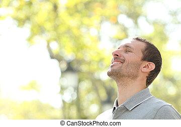 air, parc, homme, profond, heureux, frais, debout, respiration