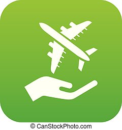 Air passenger protection icon green vector