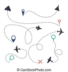 Air path set. Aeroplane line traces with fly trails dots symbols and pathway isolated vector graphic collection