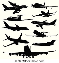 Air plane, aircraft jet vector silhouettes