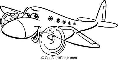 air plane cartoon coloring page
