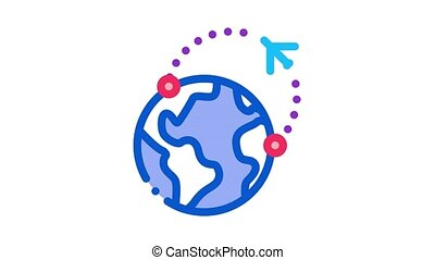 air plane course Icon Animation. color air plane course animated icon on white background
