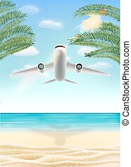 air plane flying travel to sea sand beach